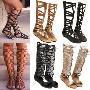 Women-039-s-Gladiator-Knee-High-Cut-Out-Sandals-Flat-Strappy-Boots-Open-Toe-Shoes