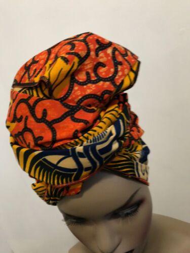 "Head Wrap Scarf African print Wax head Tie Turban 88/'X23/""  multicolor"