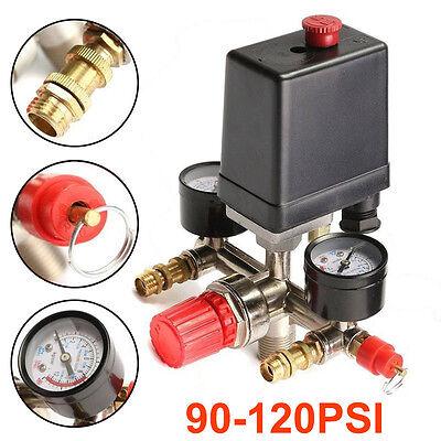 90~120Psi Air Compressor Pressure Switch Control Valve Manifold-Regulator-Gauges