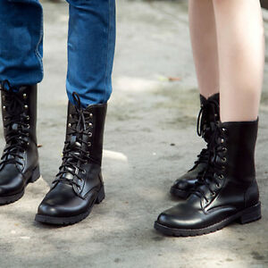 0aad3902baed Women Military Lace-up Martin Short Flat Shoes Goth Punk Ankle Boots ...