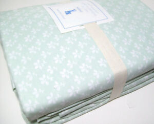 Pottery-Barn-Kids-Cotton-Green-White-Floral-Flower-Evelyn-Twin-Sheet-Set-New