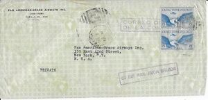 Canal-Zone-1942-Pan-American-Grace-Airways-Cover-Sent-Airmail-from-Cristobal-CZ