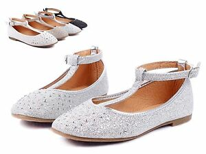 silver new glitter buckle princess flats dress