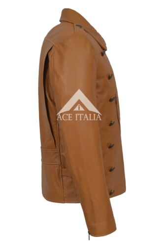 Men/'s Rocketeer Billy Campbell Tan Nappa Classic Soft Leather Jacket 9650