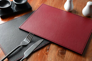 Image Is Loading Set Of 4 BLACK RED Faux Leather REVERSIBLE