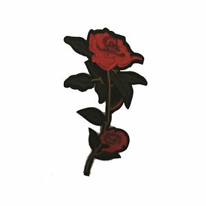Long-Two-Rose-Flower-Iron-On-Embroidery-Applique-Patch-Sew-Iron-Badge