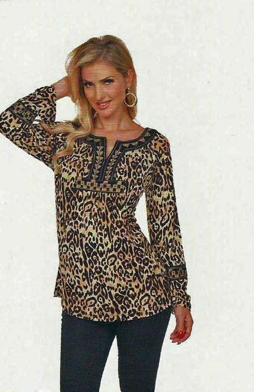 Woherren Top Tunic Blouse Cheetah Animal Print Krista Lee Fever Embroidery Beads