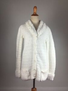 TRUE-VINTAGE-1960s-60s-handmade-sweater-white-loop-cardigan-knit-crochet-granny