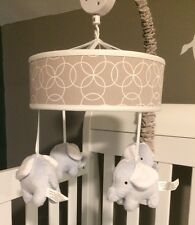 Trend Lab Gray Circles With Elephants Musical Crib Mobile
