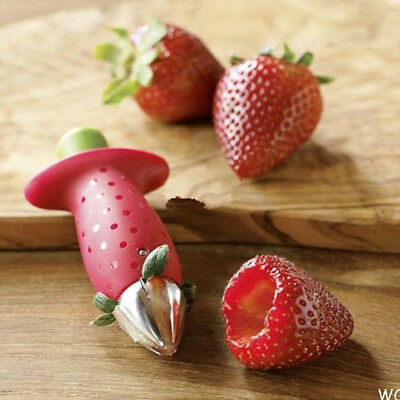 1pc Useful Kitchen Fruit Strawberry Stem Leaves Huller Remover Tool Red Color