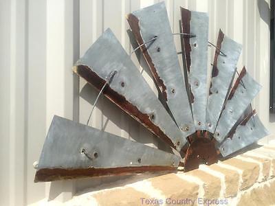 """47"""" Rustic Texas Half Windmill Head Fan Western Ranch Barn Farmhouse Wall Decor"""