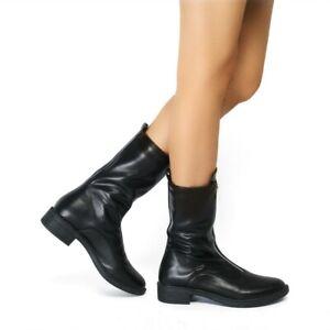 Women-Leather-Black-Mid-Calf-Boots-Zipper-Flats-Riding-Combat-Biker-Punk-Shoes