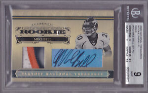 2006-Playoff-National-Treasures-RC-Auto-Patch-Gold-142-Mike-Bell-17-25-BGS-9-8