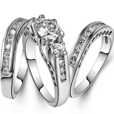 Three in One Rhodium 925 Sterling Silver Ring Band Set Wedding Birthday Bride