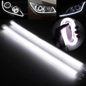 2x-30CM-LED-White-Car-DRL-Daytime-Running-Lamp-Strip-Light-Flexible-Soft-Tube