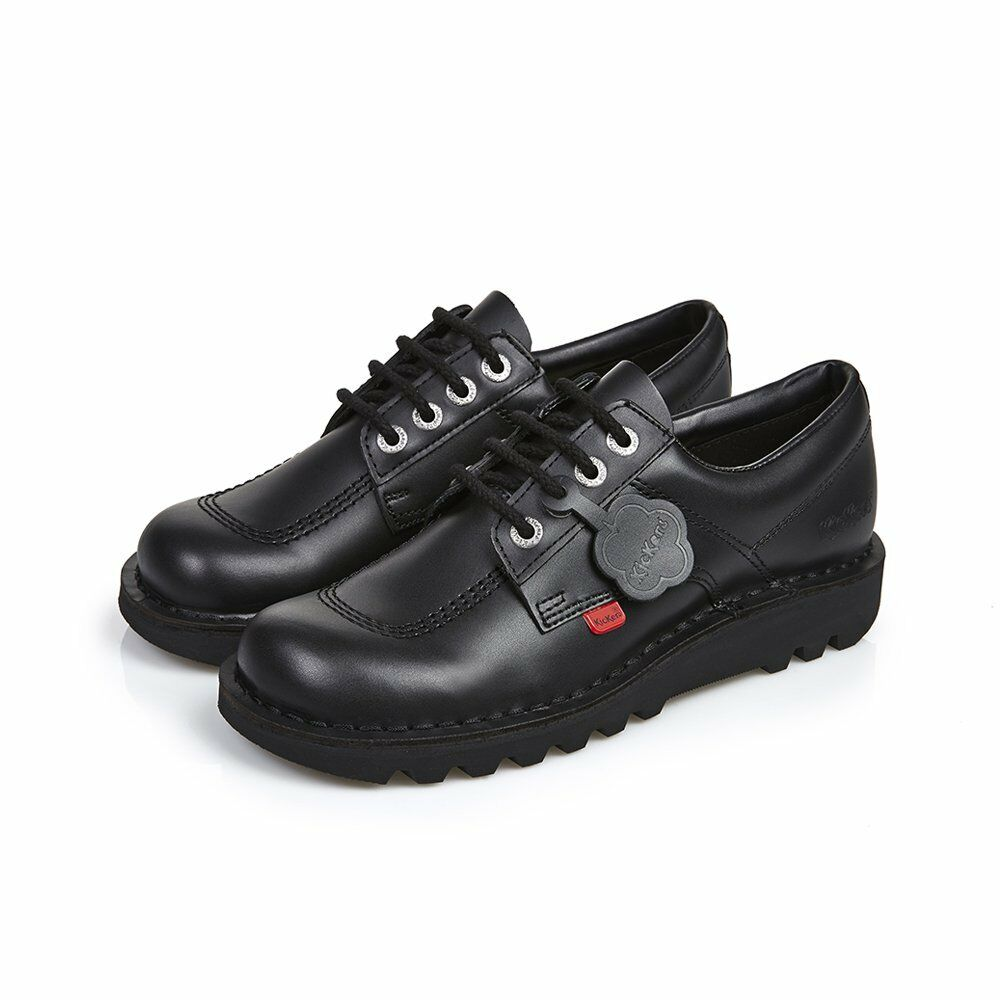 Kickers Patada baja de vuelta al colegio de Cuero Negro Zapatos De Hombre