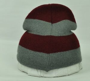 Image is loading Striped-Maroon-Thin-Knit-Cuffless-Beanie-Blank-Toque- 321c81d1bf0b