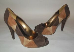 ENZO-ANGIOLINI-BROWN-SUEDE-GEOMETRIC-PRINT-PUMPS-HIGH-HEELS-SHOES-EUC-sz-8M