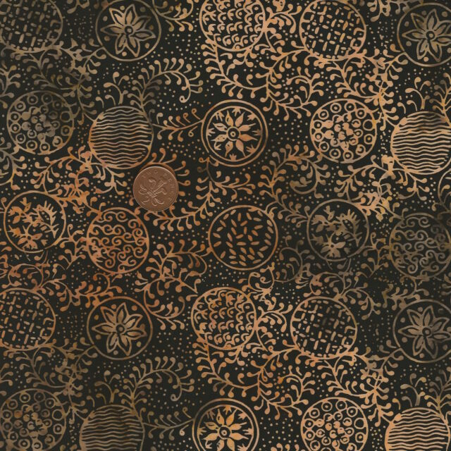 Timeless Treasures Tonga Batik B1665 Ginger Black/Tan 100% Cotton Fat Quarter