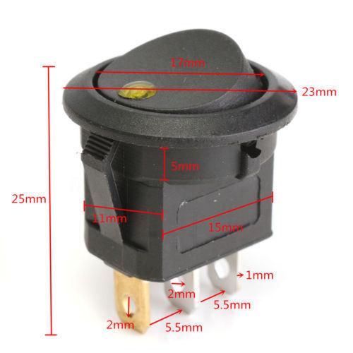 12V Car Waterproof ON//OFF Round Rocker Dot LED Light Toggle Switch BLACK LX