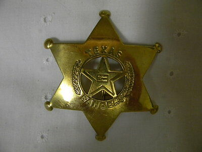 Prop Old West TEXAS RANGERS Badge  *BRASS