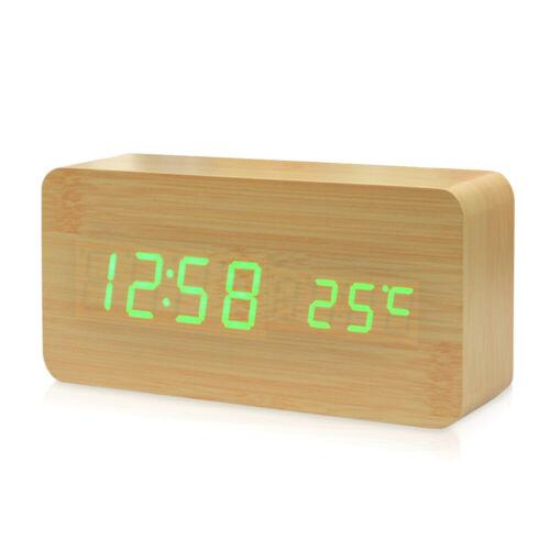 Desktop Wooden Alarm Clocks Digital LED Display Temperature Date Display K5U9