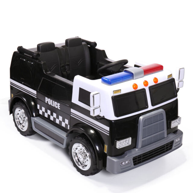Ride On Car Kids Police Truck Electric 12v Battery Powered