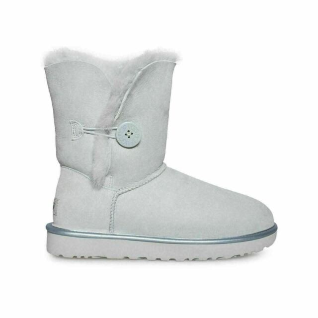 00351e5a1ef UGG Bailey Button II Metallic Iceberg Color Suede Sheepskin BOOTS Size 8 US
