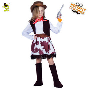 Cool Cowgirl Costume Kids Party Western Pretty Cowgirl Role Play