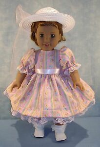 18-Inch-Doll-Clothes-Easter-Eggs-on-Pink-Dress-Hat-handmade-by-Jane-Ellen
