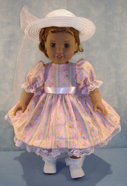 18 Inch Doll Clothes Easter Eggs on Pink Dress Hat handmade by Jane Ellen