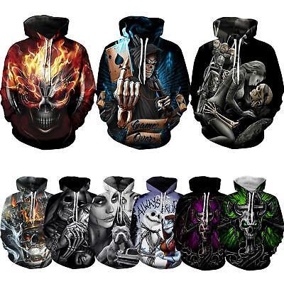 Skull poker 3DPrint Hoodie Hooded Pullover jacket Sweatshirt Sweats Outwear