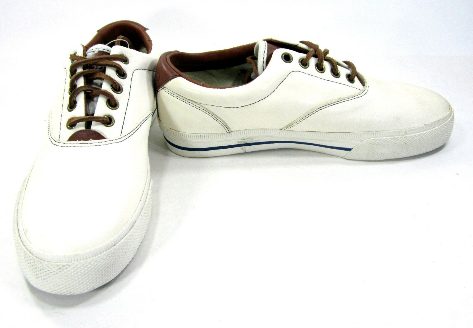 Polo Ralph Lauren shoes Vaughn Athletic Soft Leather White Cream Sneakers Size 8