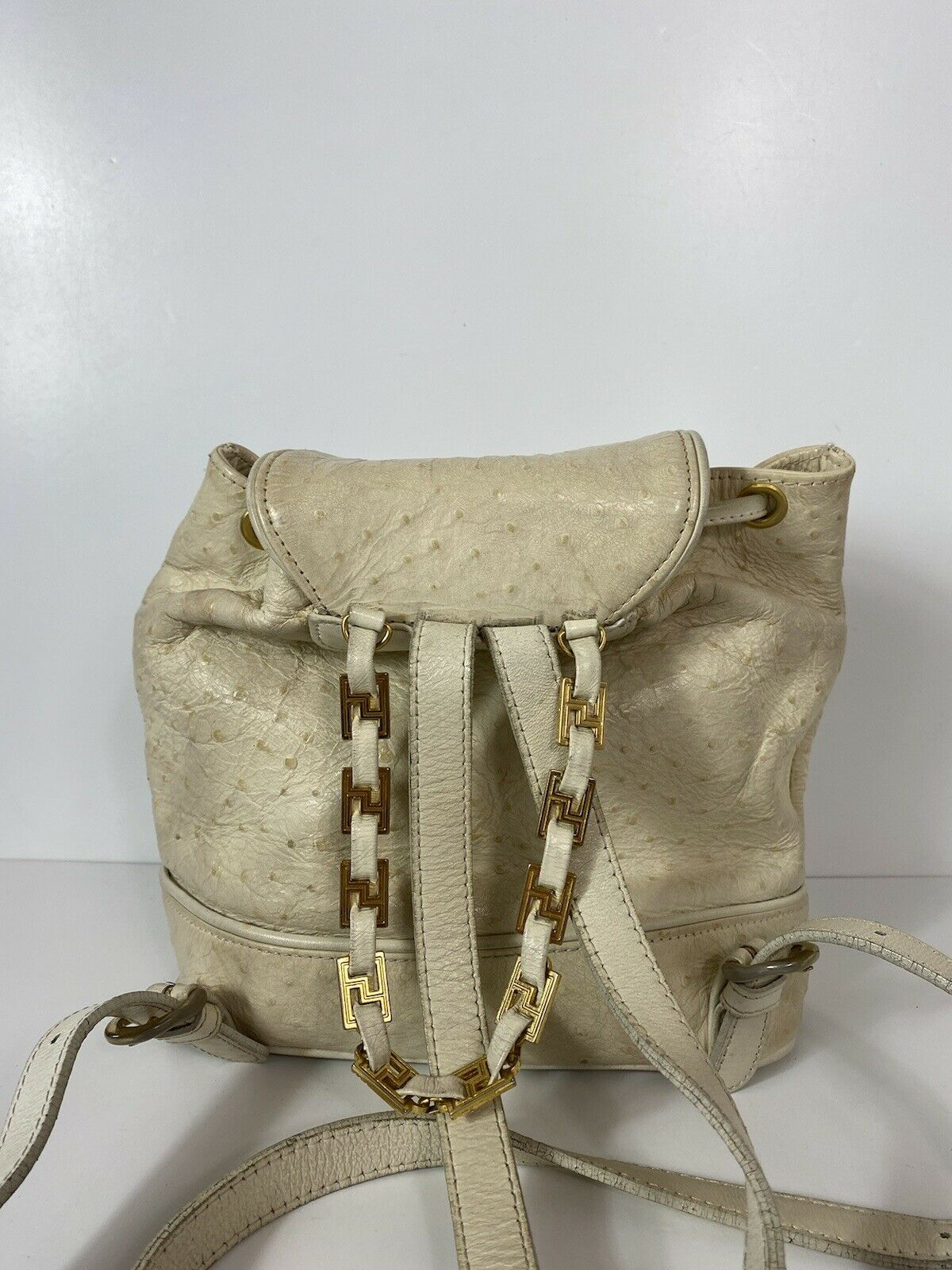 RARE VTG GIANNI VERSACE 90S WHITE OSTRICH BACKPACK - image 5