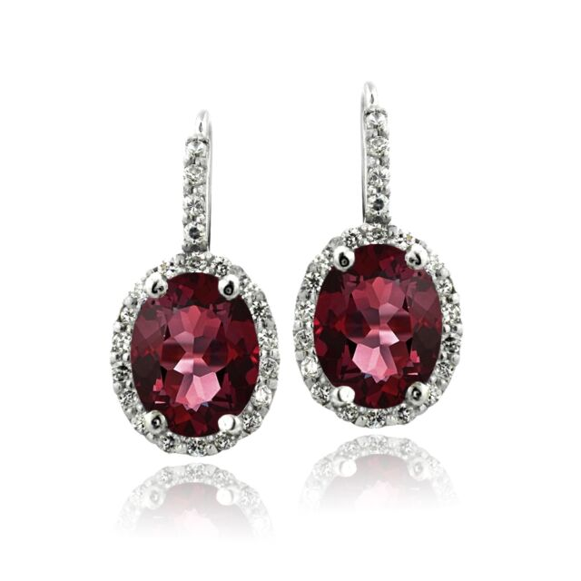 925 Silver 4.4ct Garnet & CZ Oval Halo Leverback Earrings