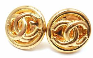 AUTHENTIC-CHANEL-GOLD-TONE-CC-LOGO-SIMPLE-CLASSIC-CLIP-ON-EARRINGS