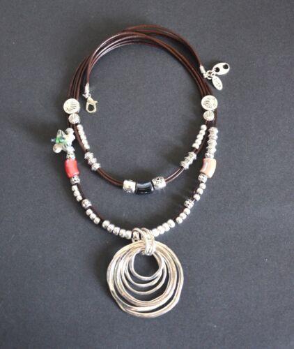 Keramik Halskette aus Spitze Cuero-Collar Silber Anhänger Circulo-Hecha A Hand