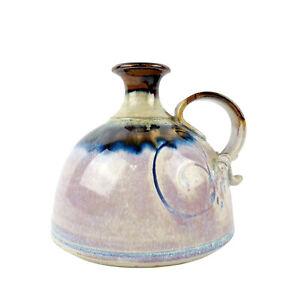 Signed Art Pottery Bud Vase Purple Drip Glaze Hand Crafted