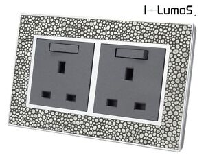 I LumoS AS Pearl Leather & Grey 13A UK Single/Double Sockets & Light Switches