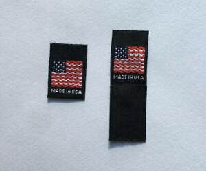 AMERICAN FLAG XS S M L XL 50 pcs WOVEN CLOTHING SEWING LABELS MADE IN U.S.A