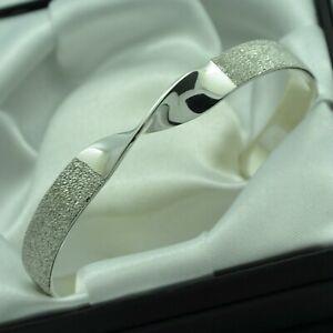 Semi-Textured-amp-Plain-Solid-925-Sterling-Silver-Twist-Design-Cuff-Bracelet