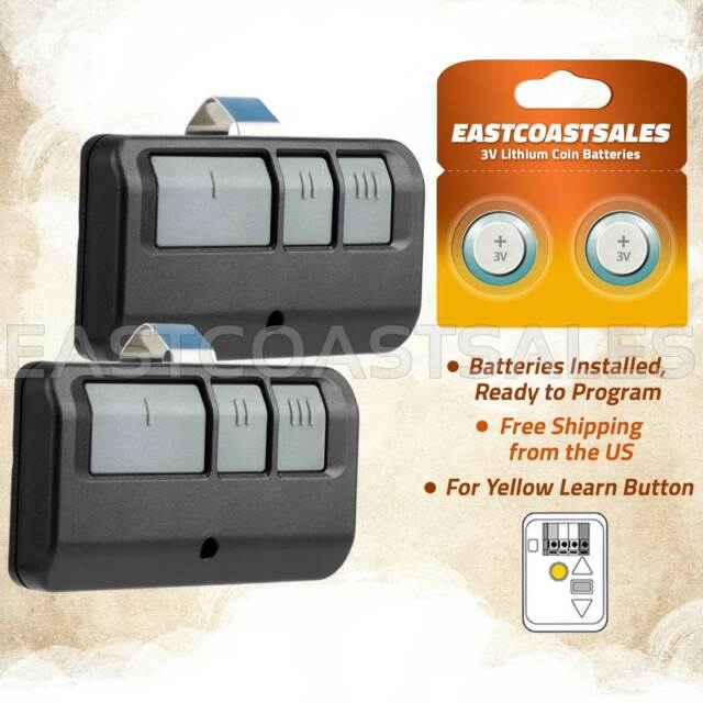 2 Pack 950ESTD 953 Garage Door Remote 891lm Yellow Learn Button Liftmaster