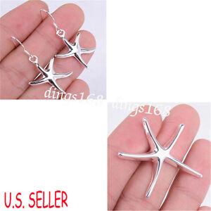 3-pc-925-Sterling-Silver-Tarnish-Resist-Starfish-Pendant-Dangle-Earrings-S122