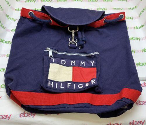 Vtg 1990s Tommy Hilfiger Drawstring Backpack Duffl