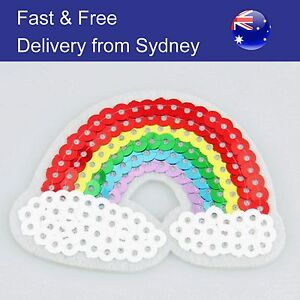 Rainbow-Iron-on-patch-sequin-colourful-shiny-embroidery-heat-transfer-patches