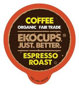 EKOCUPS Artisan Organic Espresso Roast,  for Keurig K-cup Brewers, 40 count