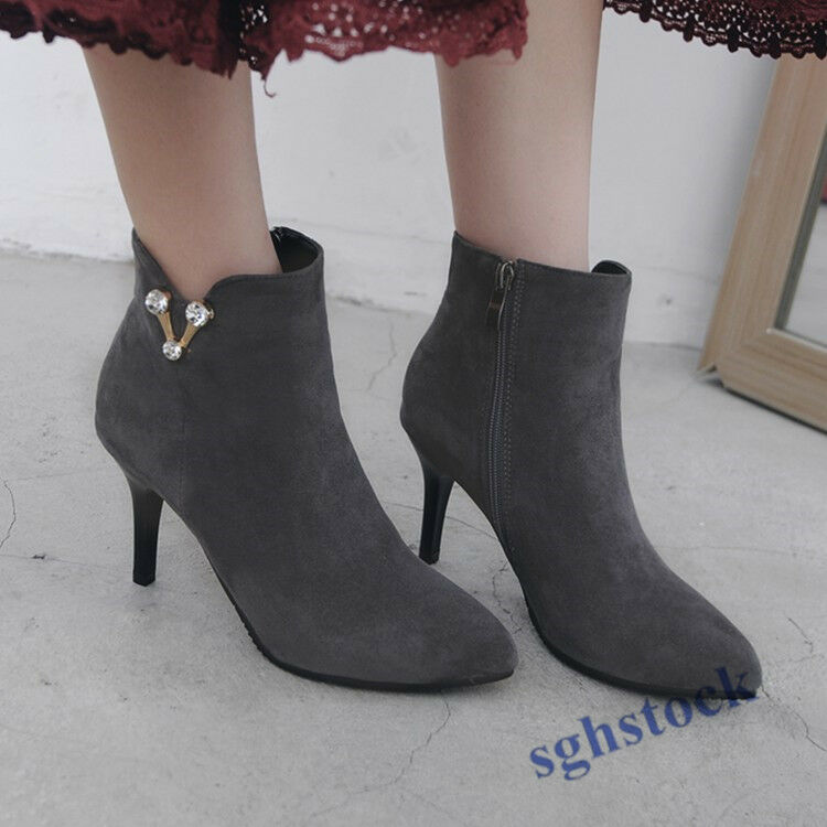 Lady Ankle Boots Stiletto Pointy Toe Zipper Party Shoes Kitten Heels Big Size NW