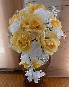 Brautstrauss Hochzeitsstrauss Gelb Weiss Blumenstrauss Hochzeit Ebay