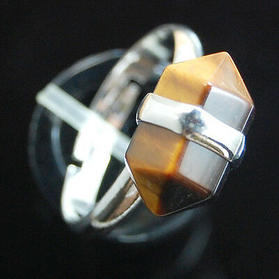 Natural Gemstone Hexagon Prism Healing Reiki Chakra Beads Adjustable Ring