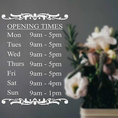 Opening Hours Times Shop Sign Sticker Personalised Elegant Floral Florist Flower Ebay